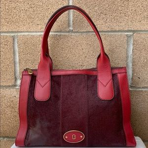 Fossil Vintage Reissue red calf hair handbag RED